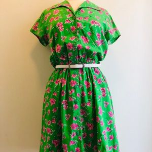 Lily Pulitzer Smoked Pink Green Floral Dress